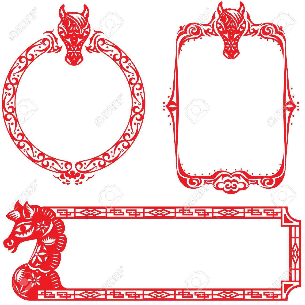 year of horse border design elements illustration set the center rh 123rf com Horse Borders and Frames Page Borders