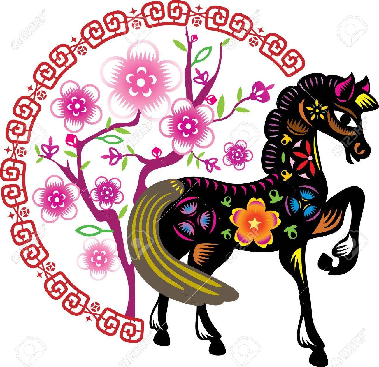 色の若い馬の中国の旧正月の花の背景の前に立つのイラスト素材ベクタ