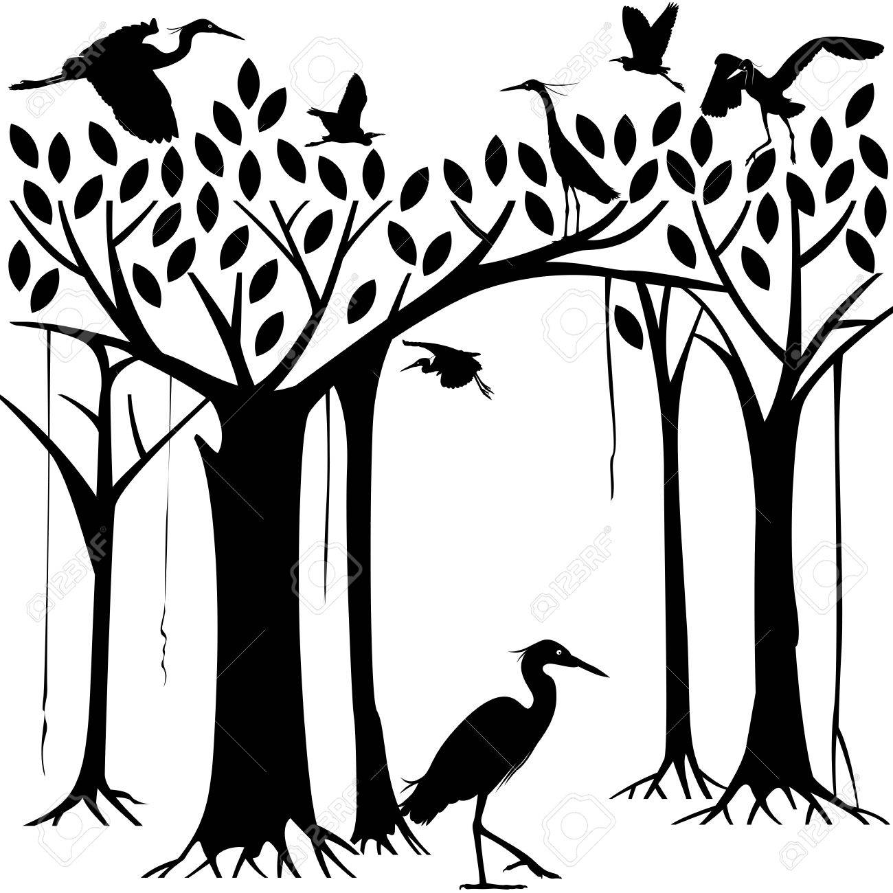 Egrets and banyan tree forest in Silhouette illustration Stock Vector - 26045826