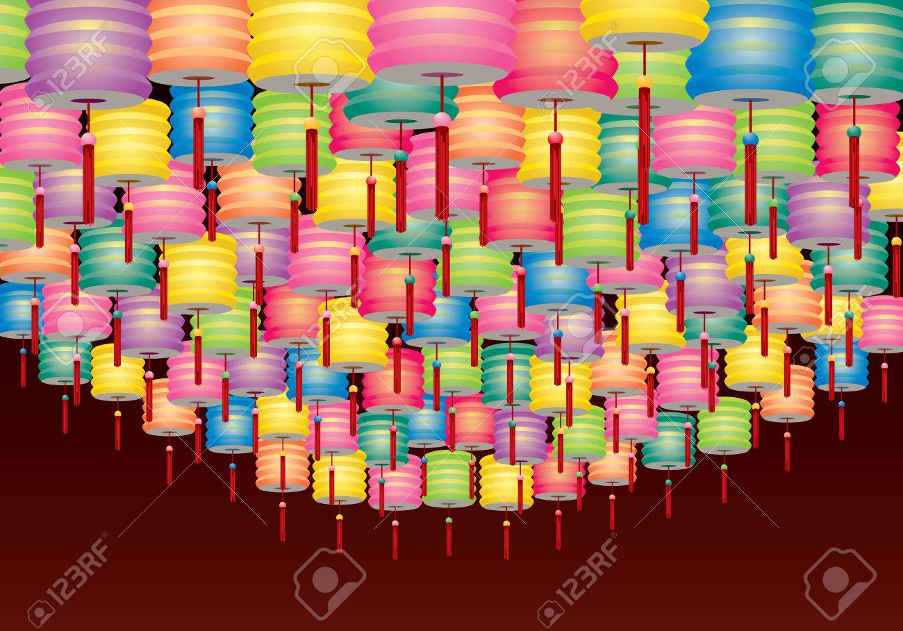 e06b04012 Group of Paper lanterns decoration for Mid Autumn festival Stock Vector -  29429546