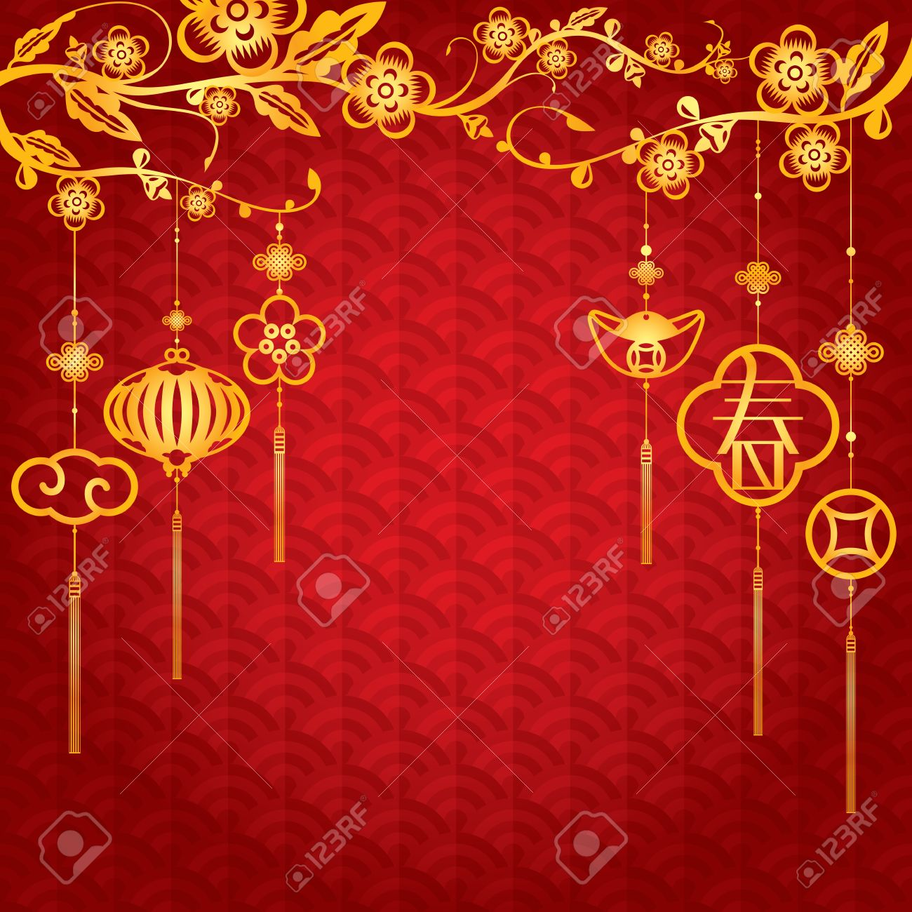 chinese new year background with golden element decoration the chinese letter means spring or brand new