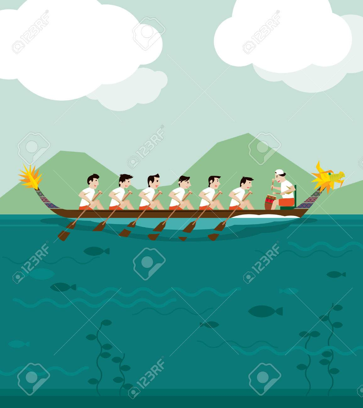 Dragon Boat Racing Illustration Background Stock Vector