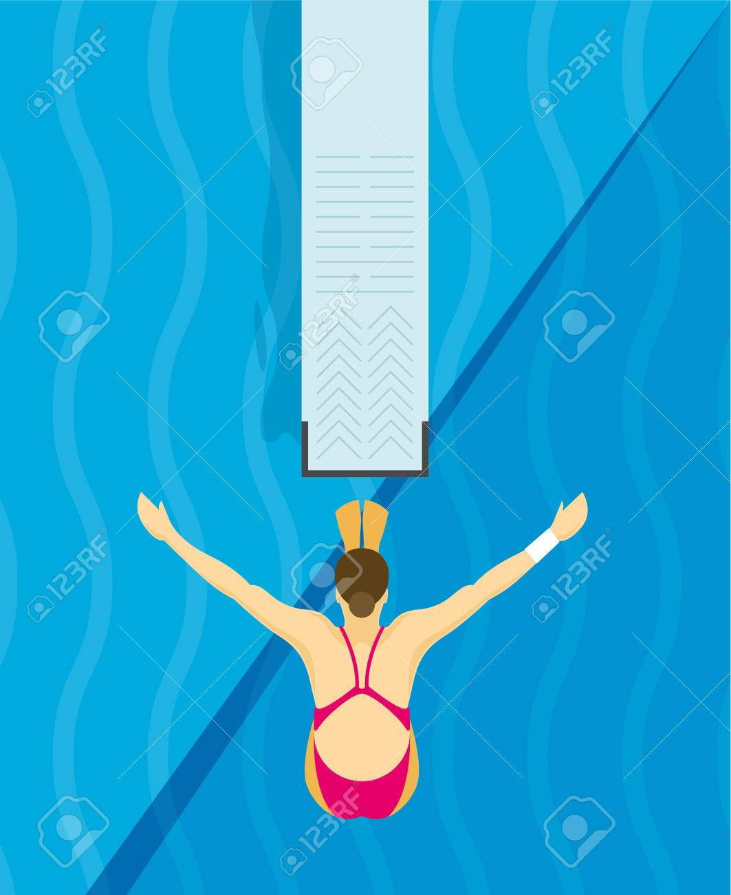 An athlete Jumps from diving board design Illustration - 57969806