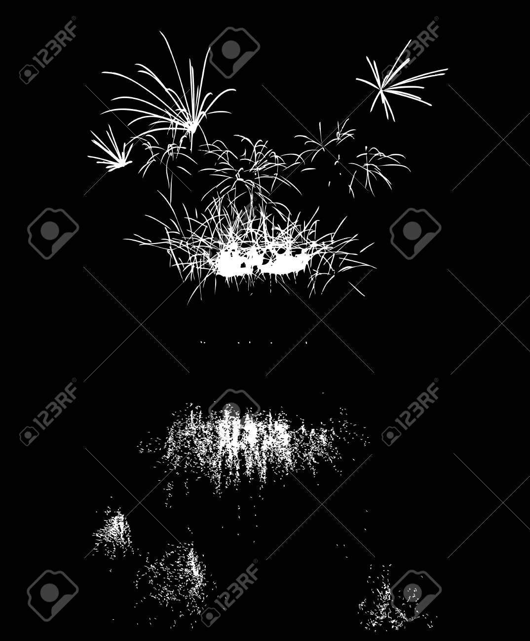 Vector De Los Fuegos Artificiales Con La Reflexion En El Lago