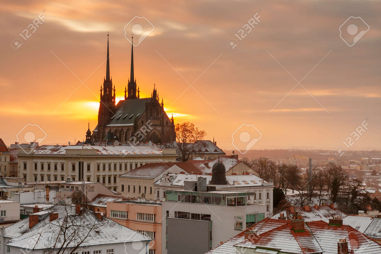 Aerial view of the Cathedral of Saints Peter and Paul in Brno in Czech Republic. Long exposure, used neutral density filter at winter sunrise time. View from Spilberk Castle - 163052072