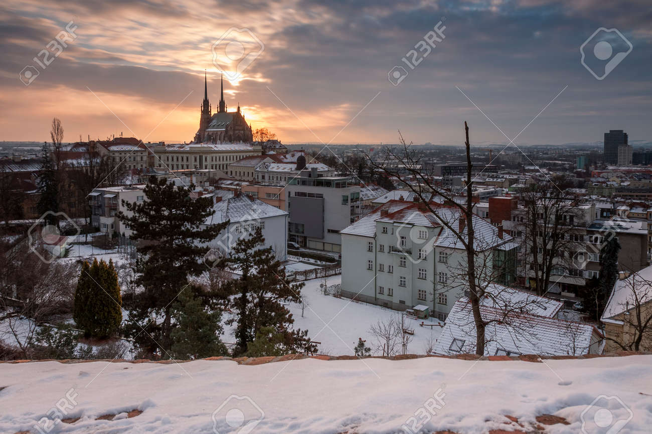Panoramic view of the Cathedral of Saints Peter and Paul in Brno in Czech Republic. Long exposure, used neutral density filter at winter sunrise time. - 163068771