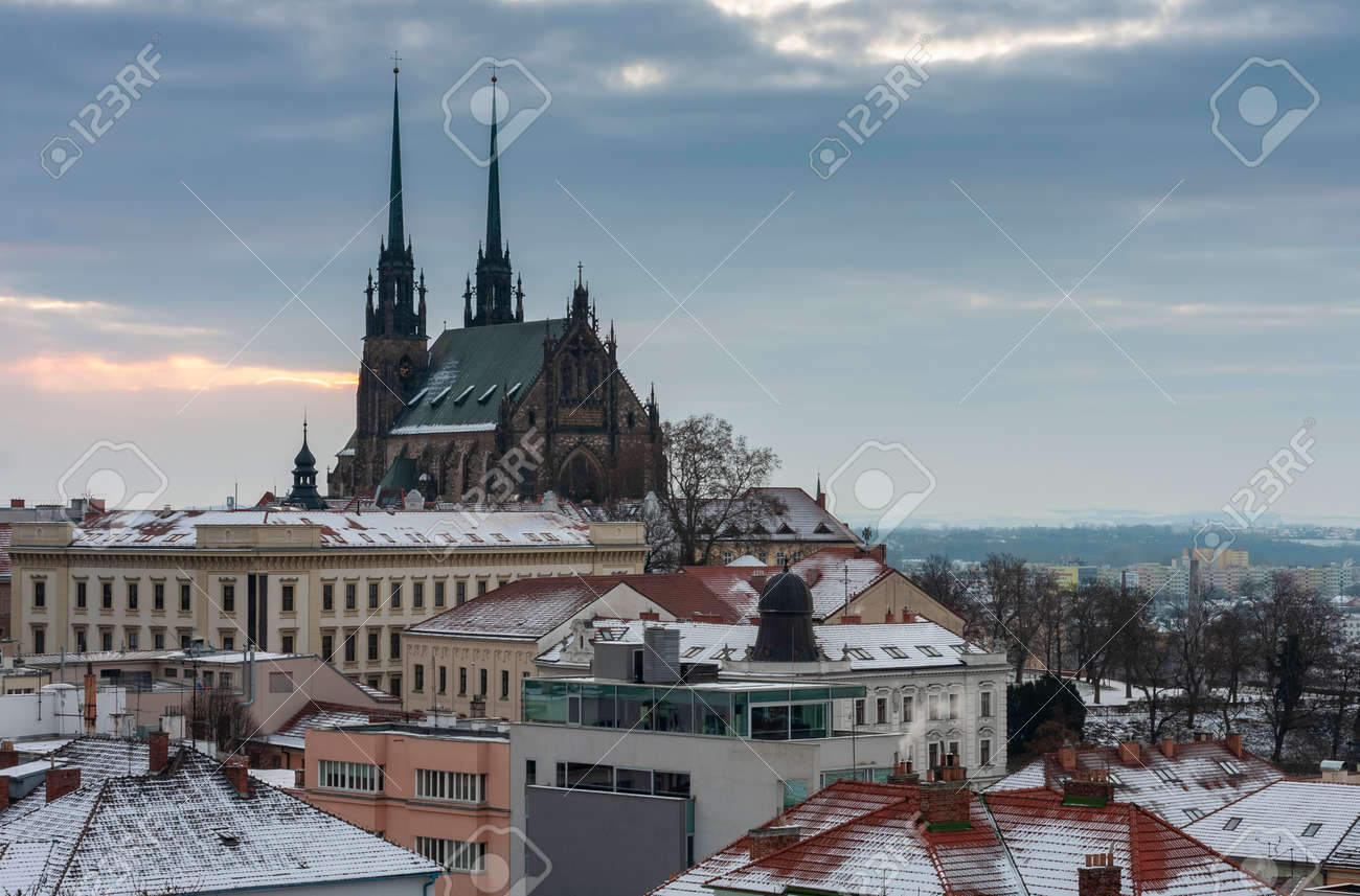 Aerial view of the Cathedral of Saints Peter and Paul in Brno in Czech Republic. Winter sunrise time. View from Spilberk Castle - 163035051