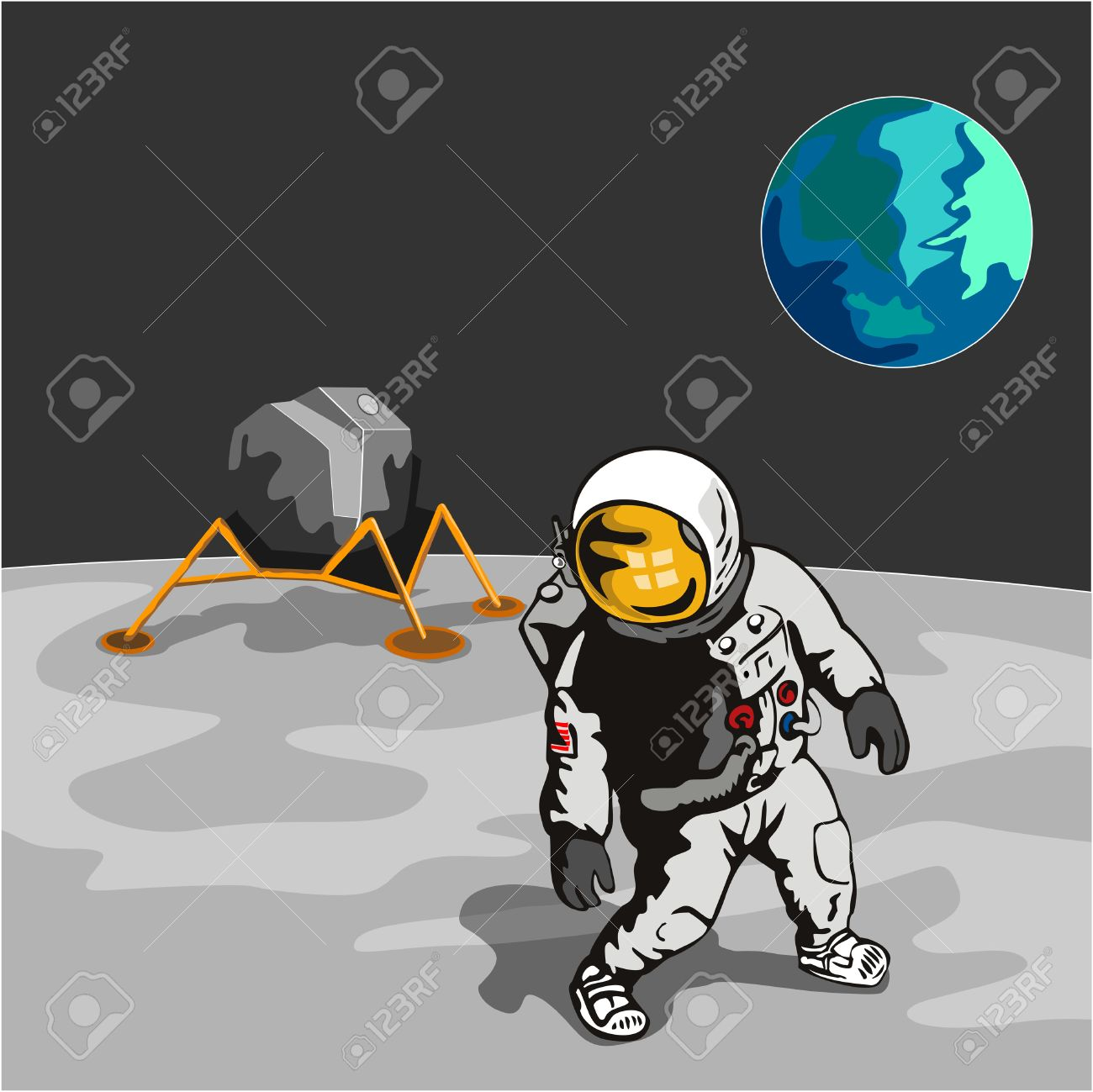 Astronaut walking on the moon with lunar module Stock Vector - 1455465
