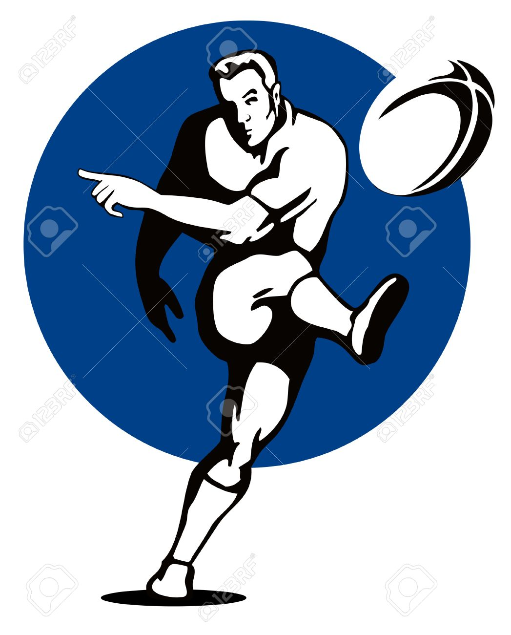 Rugby player kicking the ball Stock Vector - 1729489