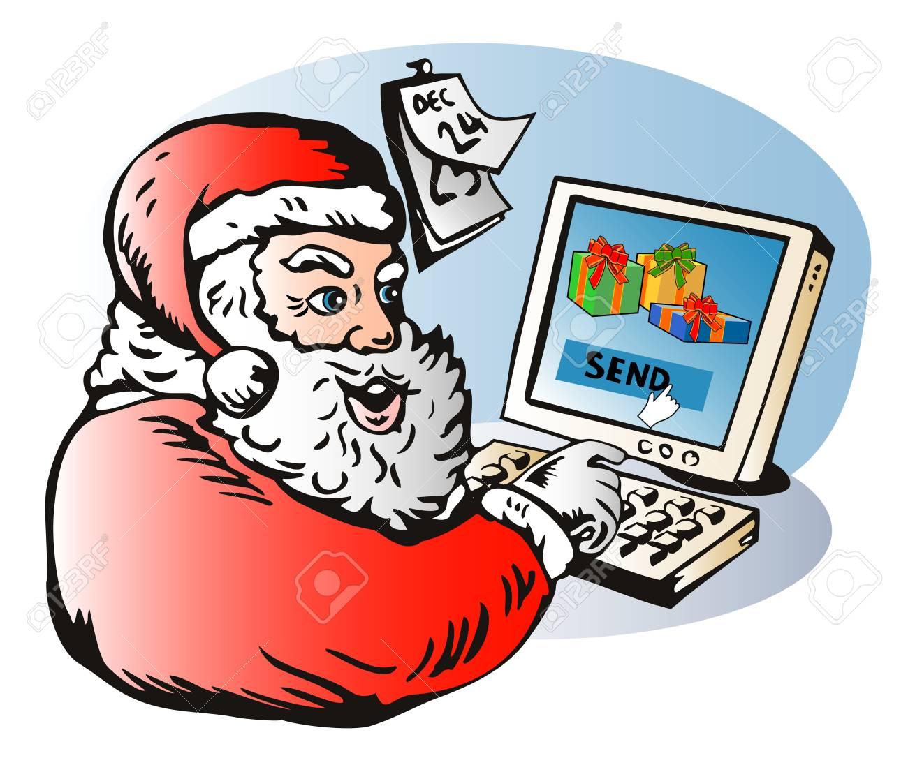 Santa sending presents thru e-mail Stock Vector - 2021125