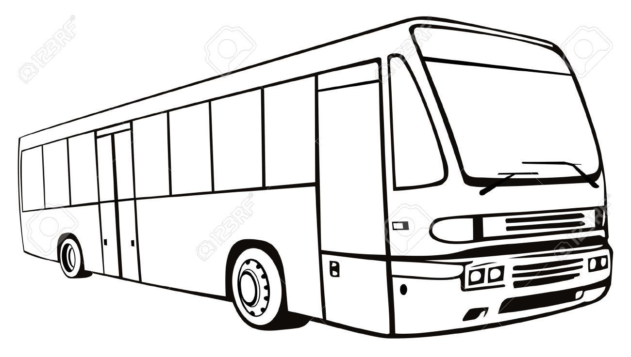 Line Drawing Of A Coach Bus Royalty Free Cliparts Vectors And