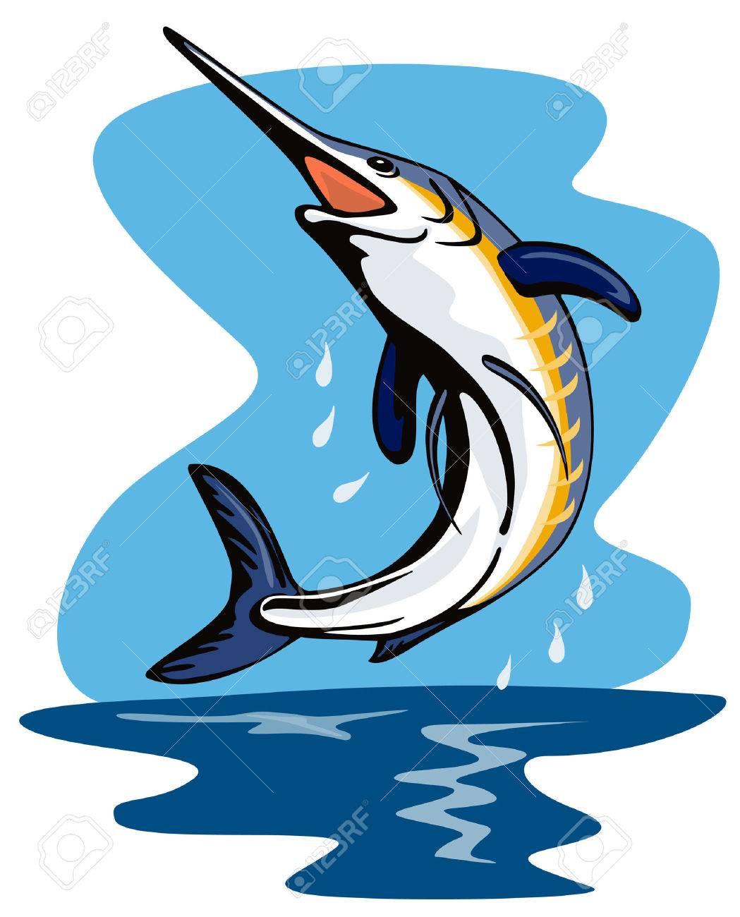 Blue marlin jumping Stock Vector - 2087300