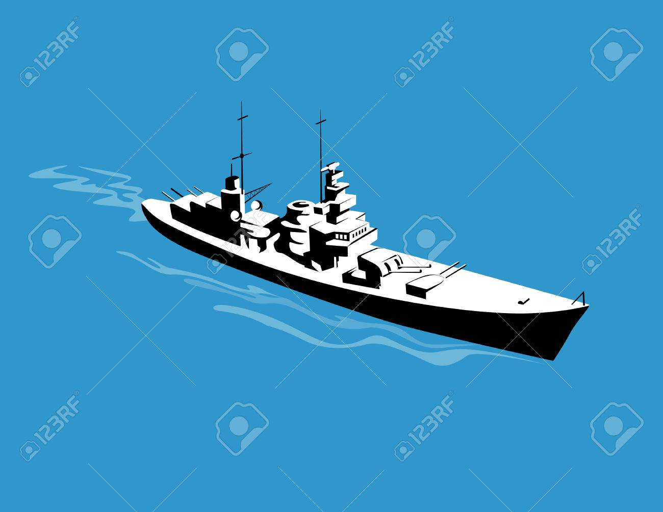 Warship steaming past as viewed from above - 2323401