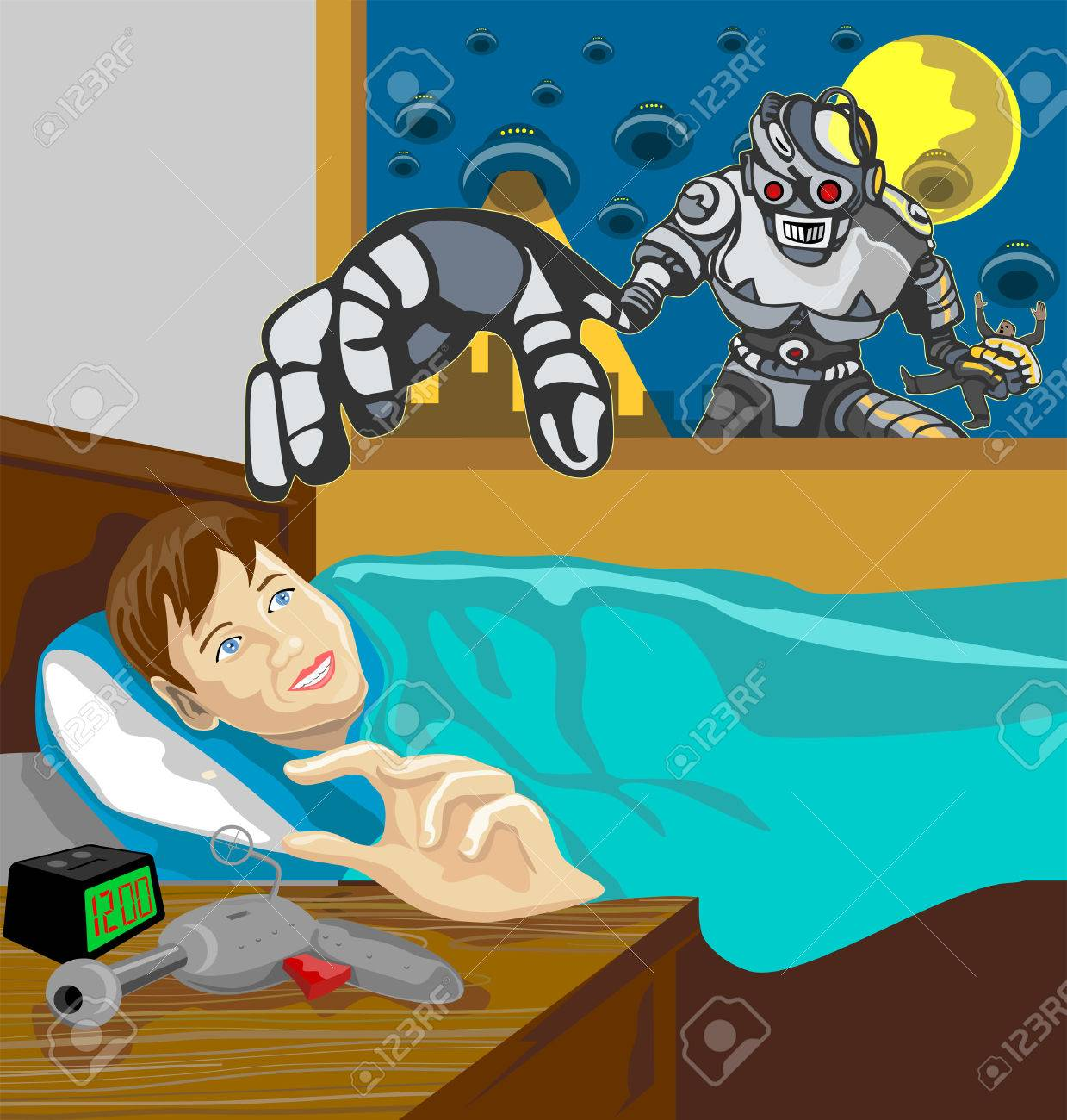 Alien invading robot about to snatch boy Stock Vector - 2323463