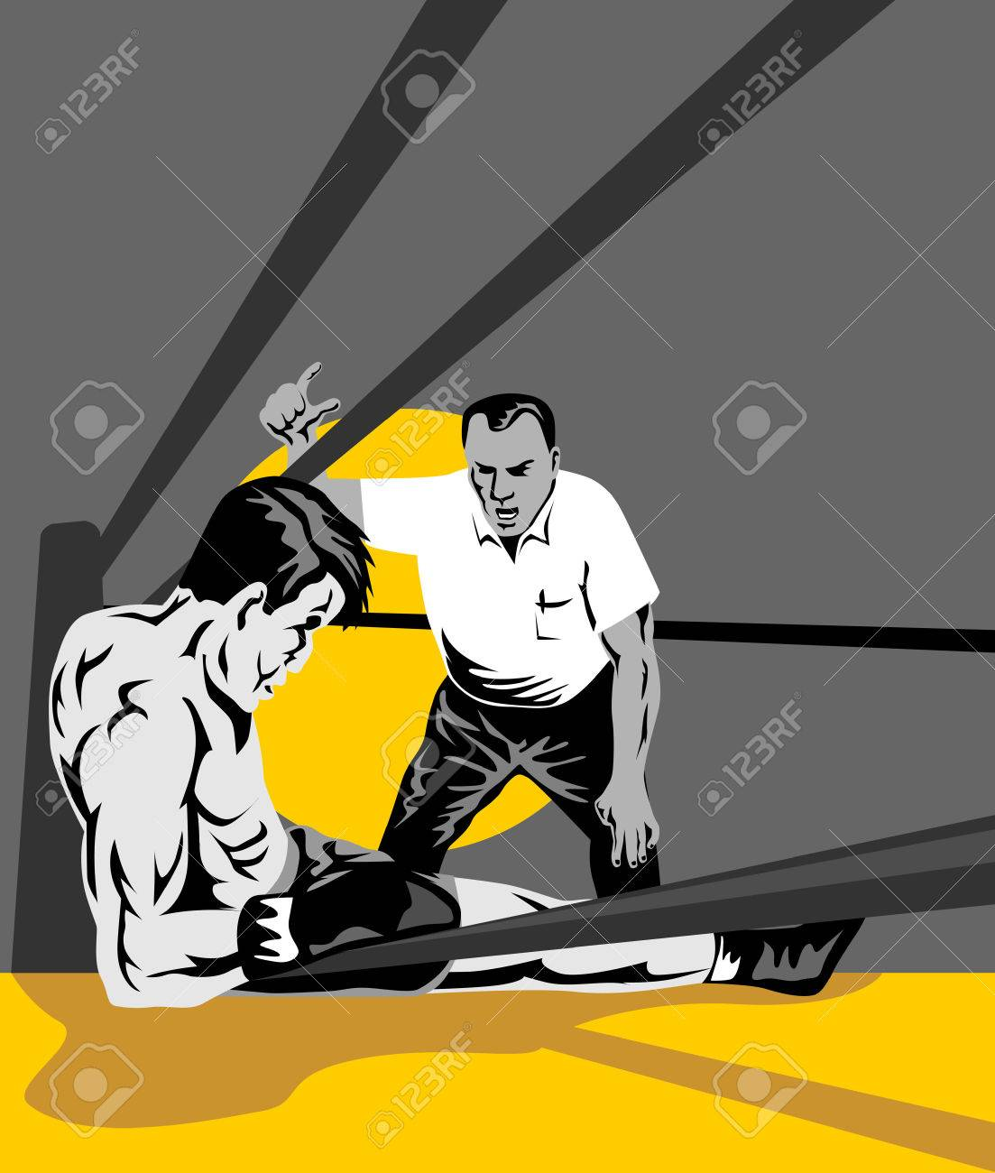 Referee counting down boxer Stock Vector - 2562859