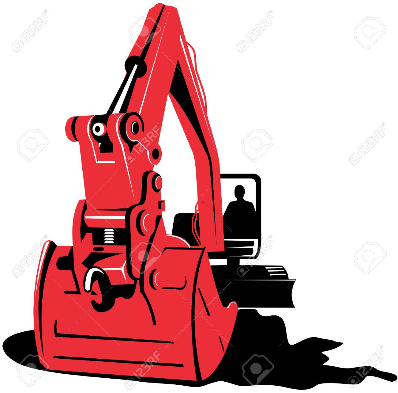 Mechanical Digger On White Royalty Free Cliparts, Vectors, And ...