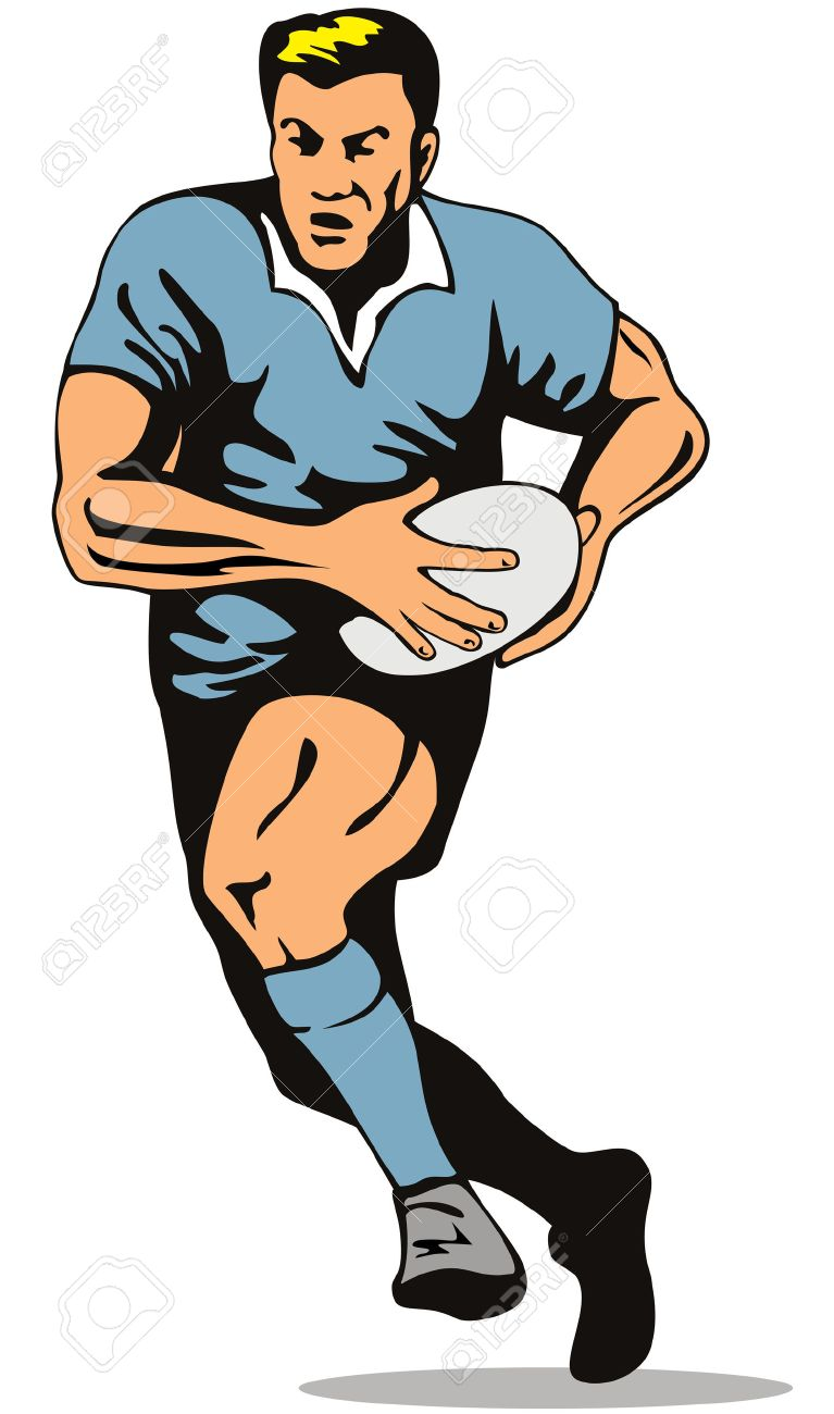 Rugby player running with the ball Stock Vector - 2732695