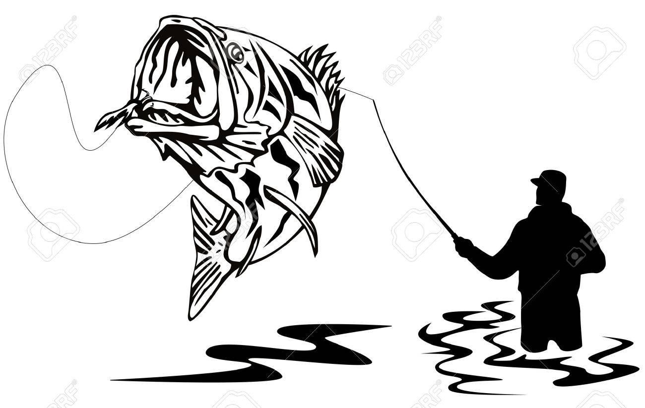 Fisherman catching a largemouth bass Stock Vector - 3119061