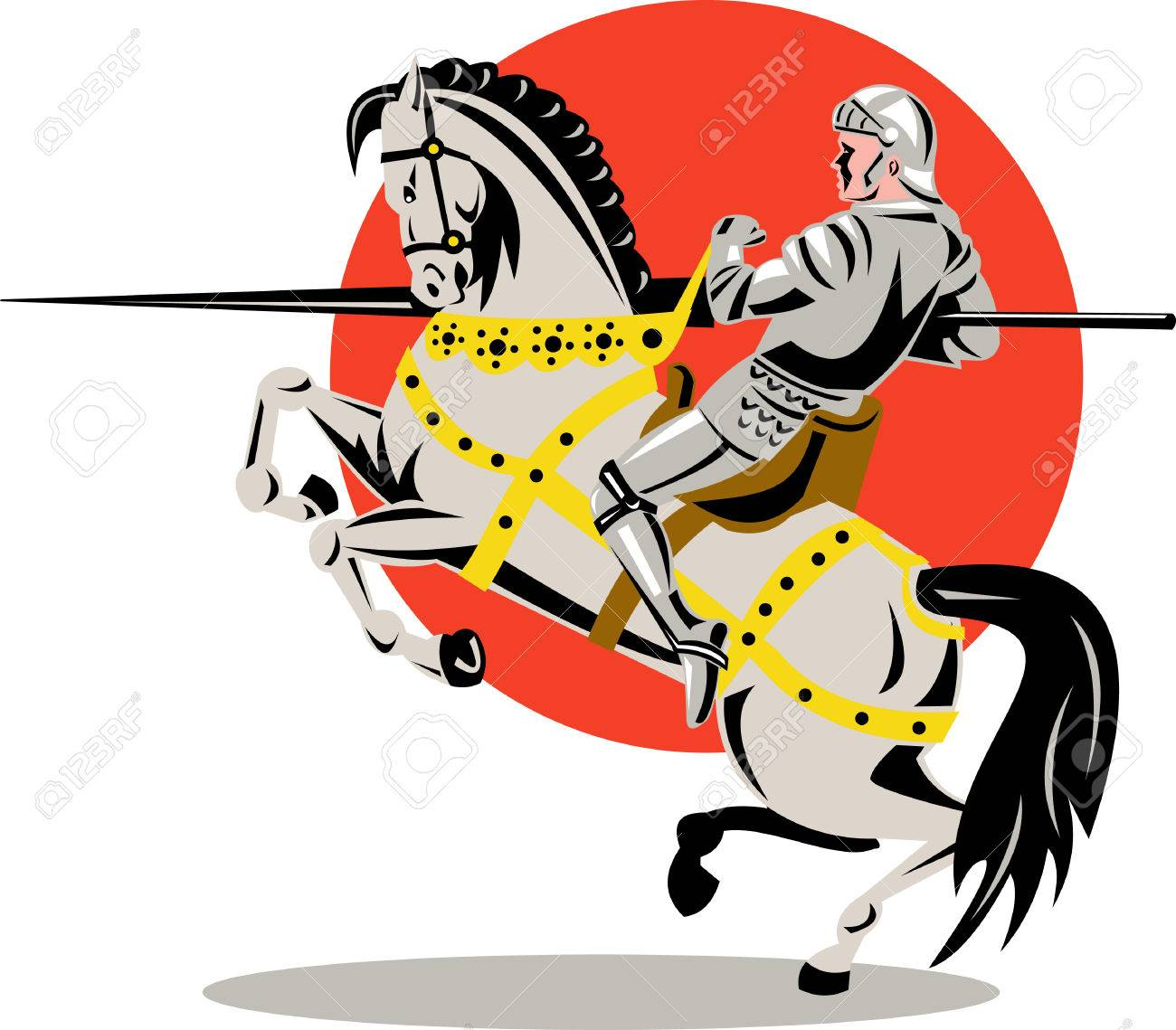 Knight with lance Stock Vector - 3982183