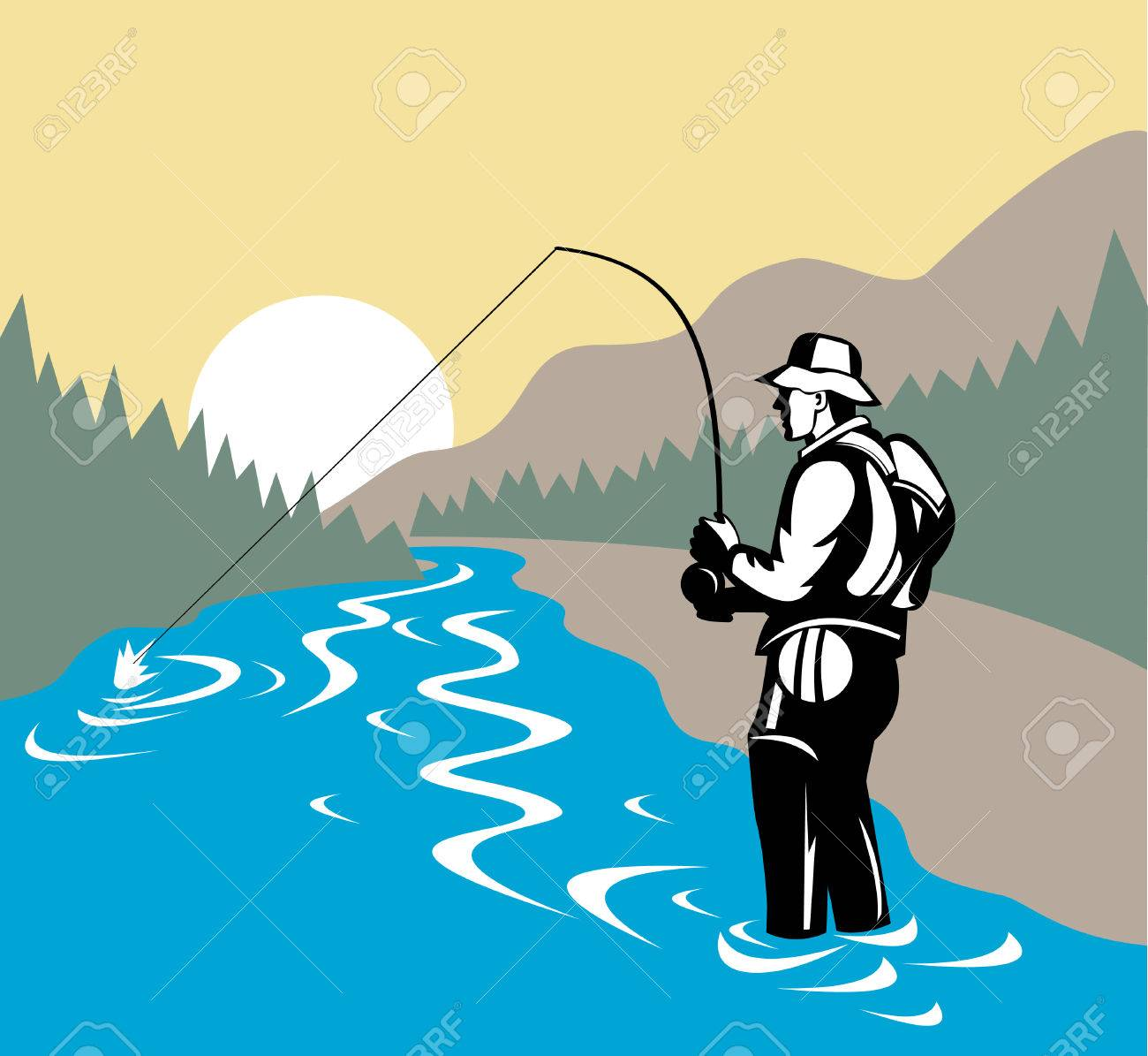 Fly fisherman with mountains in background Stock Vector - 4455933