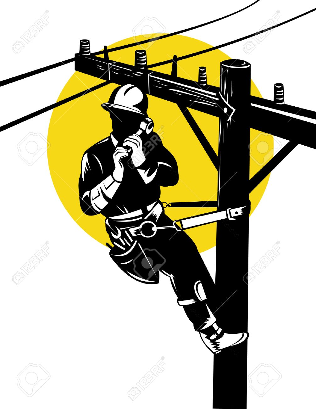 Power Lineman At Work Royalty Free Cliparts, Vectors, And Stock ...