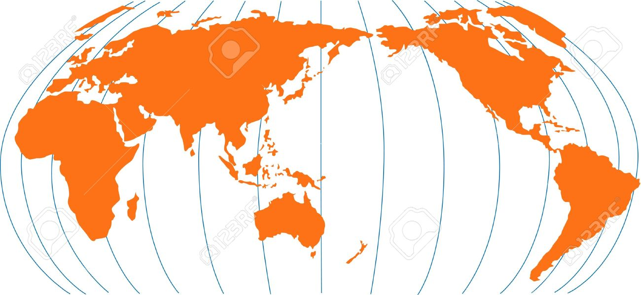 World Map Showing Australia New Zealand In Center Stock Photo - World map new zealand