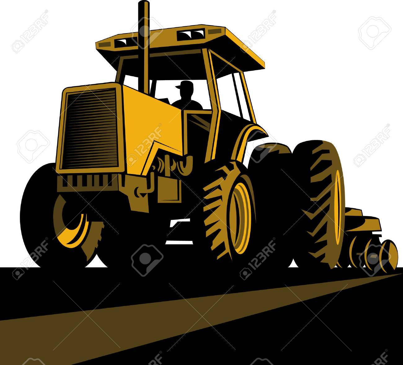 Farmer driving a vintage tractor Stock Vector - 5628810
