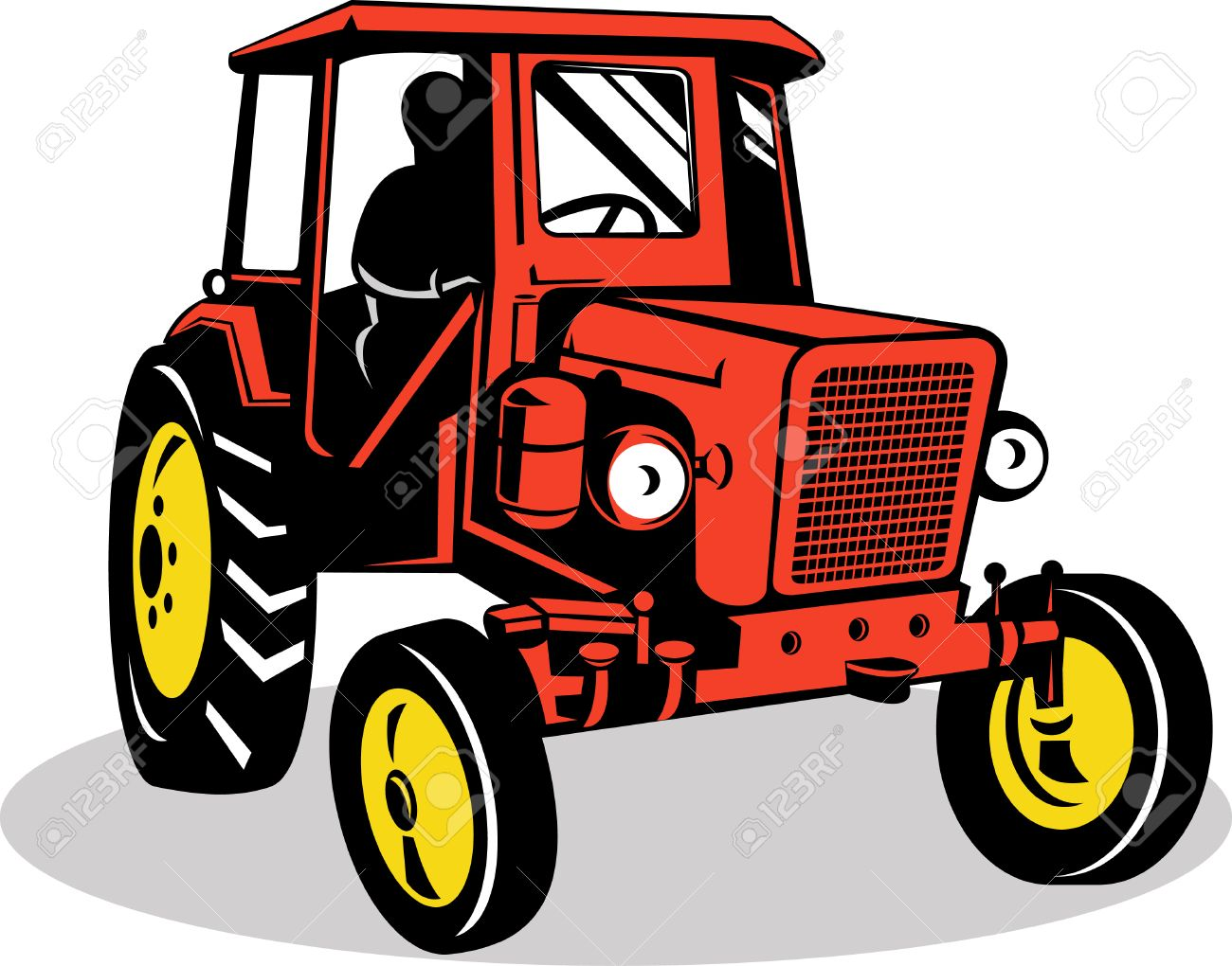 Farmer Driving A Vintage Tractor