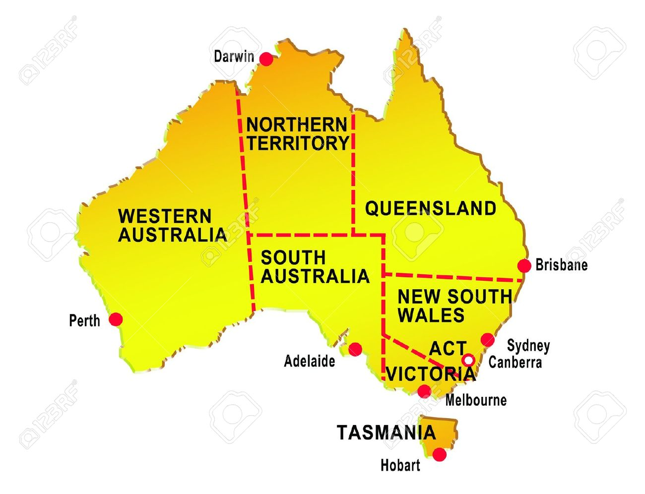 Australia Map States And Cities.Map Of Australia Showing Eight States And Major Cities Isolated