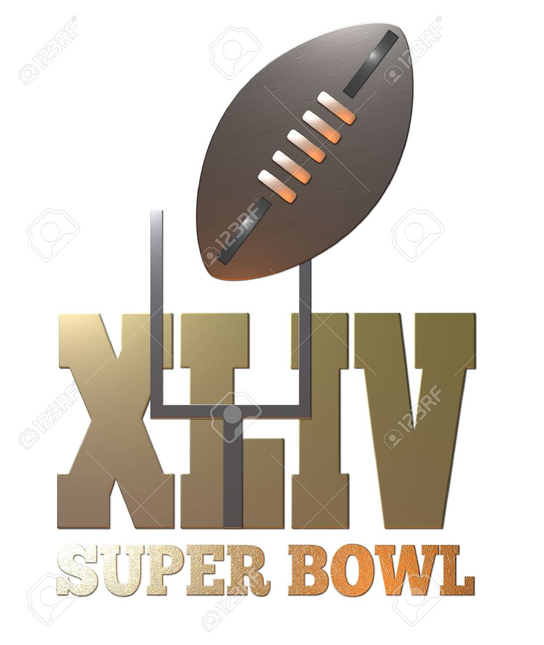 illustration of the 44th american rugby football  super bowl 2010 with ball and goal post Stock Illustration - 6195773