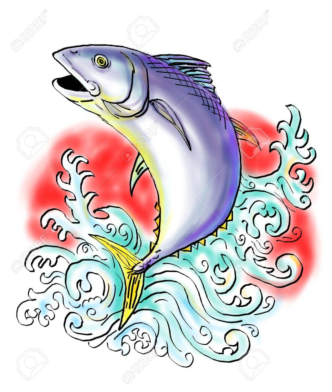 sketch illustration of a bluefin tuna jumping with waves Stock Illustration - 6218389