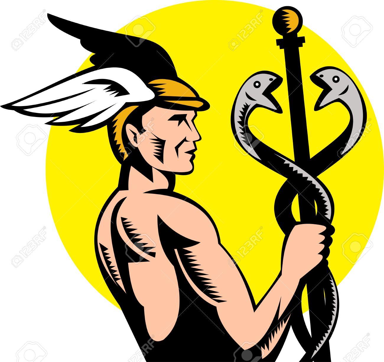 Uncategorized Hermes God illustration of roman greek god hermes or mercury holding a caduceus stock 6233958