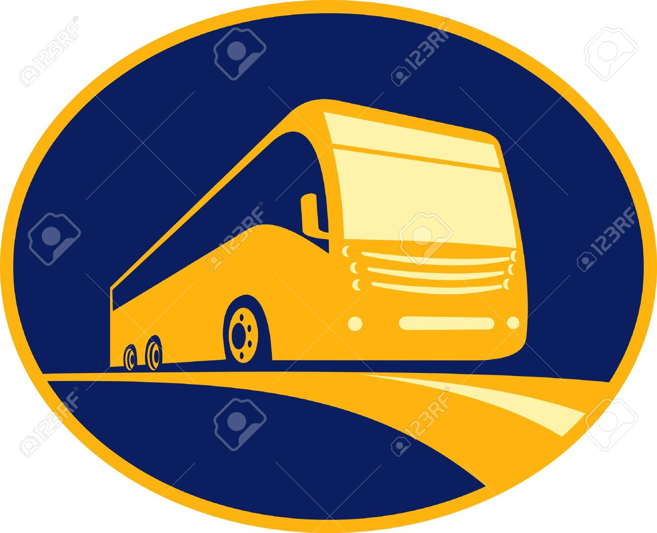 Icon For A Tourist Coach Bus Traveling On Road Viewed From A Stock