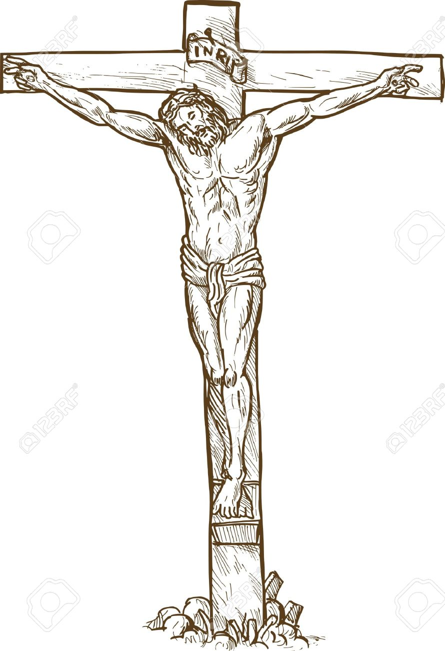 Hand drawn sketch illustration of jesus christ hanging on the cross stock illustration 6509023