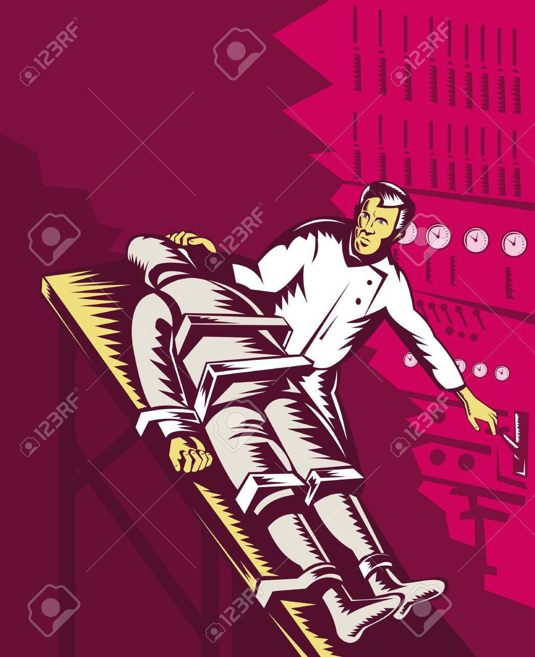 Dr Frankenstein about to turn power plank on Stock Photo - 7238269