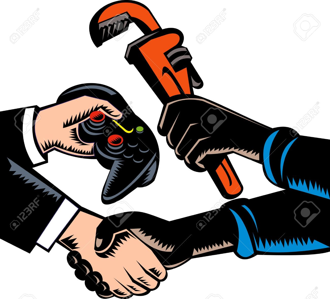 hand swapping plumbing services and game controller Stock Photo - 7238267