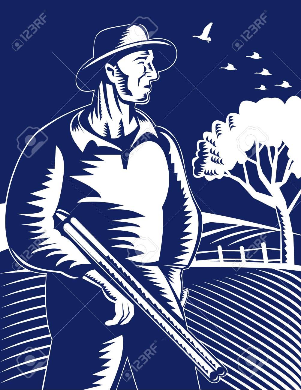 hunter famrer with rifle shotgun Stock Photo - 7238250