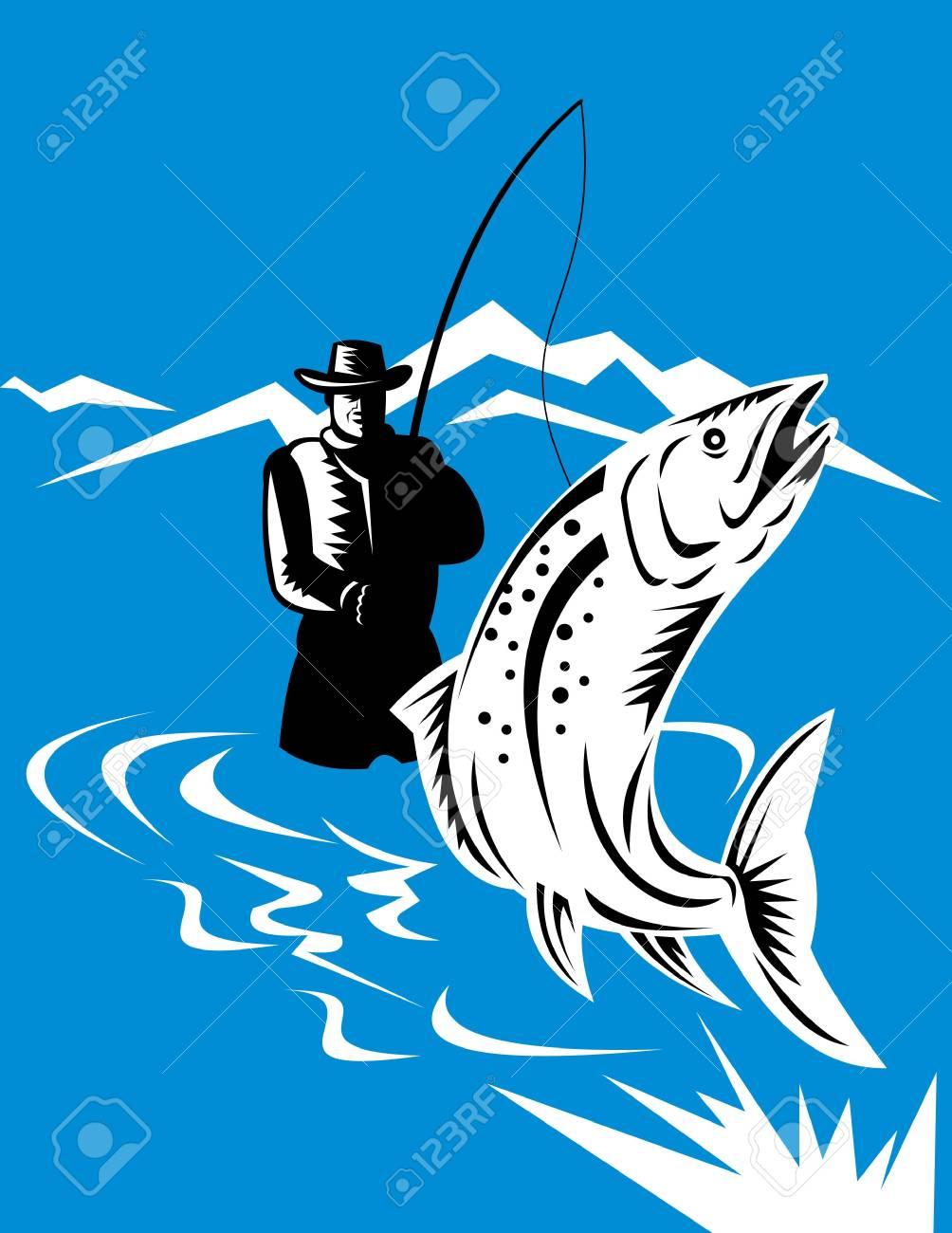 fisherman catching trout Stock Photo - 7046123