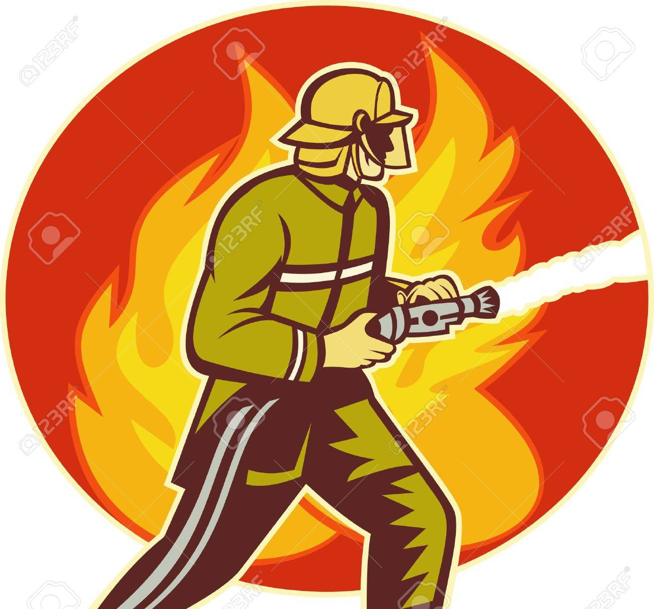 illustration of a Firefighter fireman with water hose fighting fire viewed from the side with flames in background. Stock Illustration - 7490150