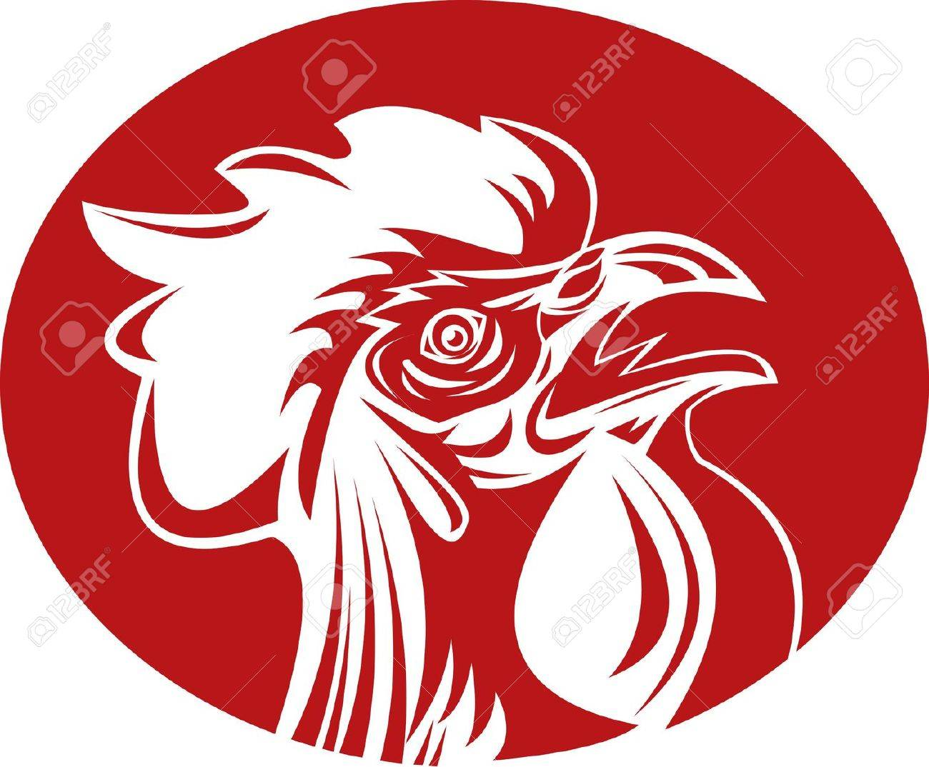 illustration of a Rooster cockerel crowing Stock Illustration - 7490166
