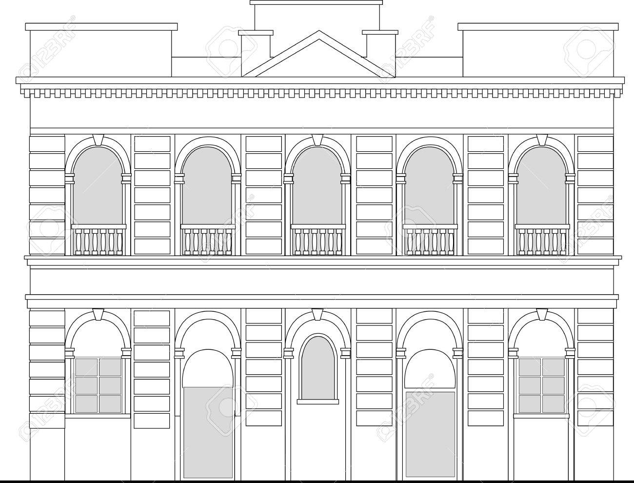Line Drawing Illustration Of A Heritage Mansion Building Viewed