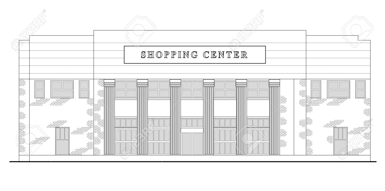 Line Drawing Illustration Of A Strip Mall Or Shopping Center Stock