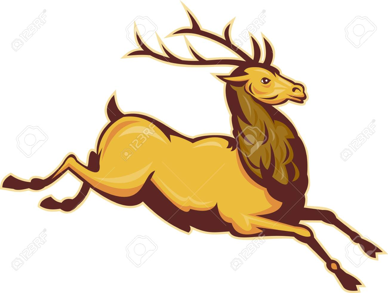 illustration of a Stag deer or buck jumping isolated on whit e background Stock Illustration - 7680408