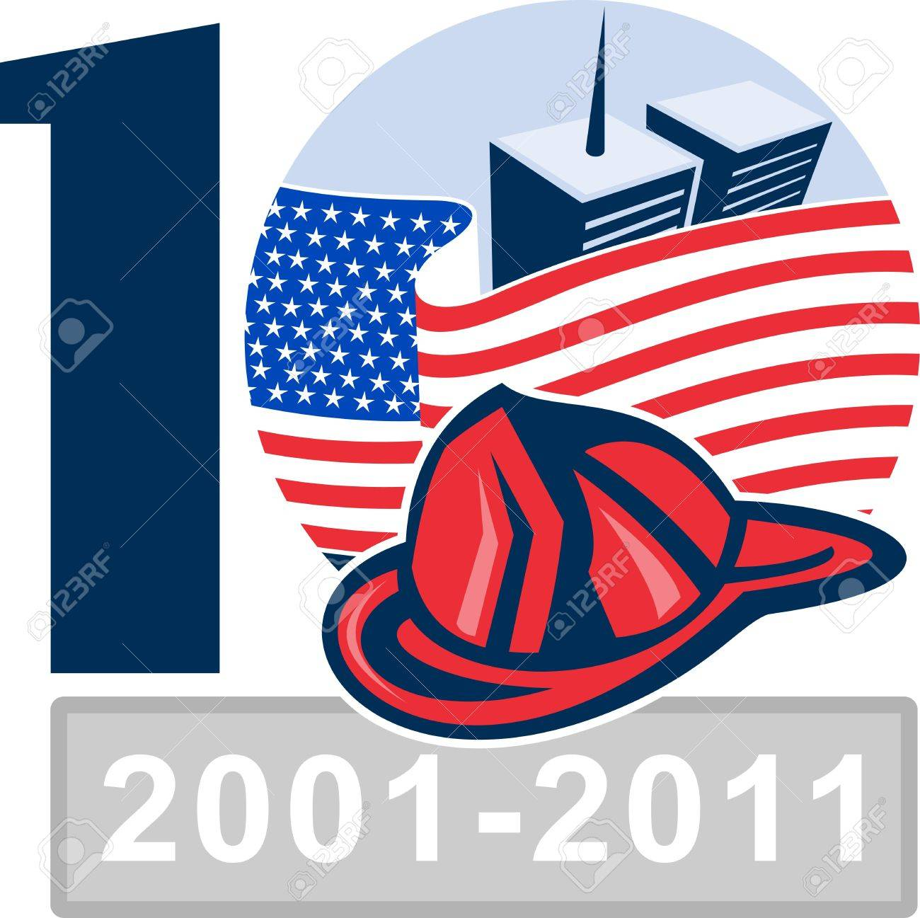 illustration of am unfurled american flag  with world trade center twin tower building in the  background and firefighter helmet Stock Illustration - 7680488