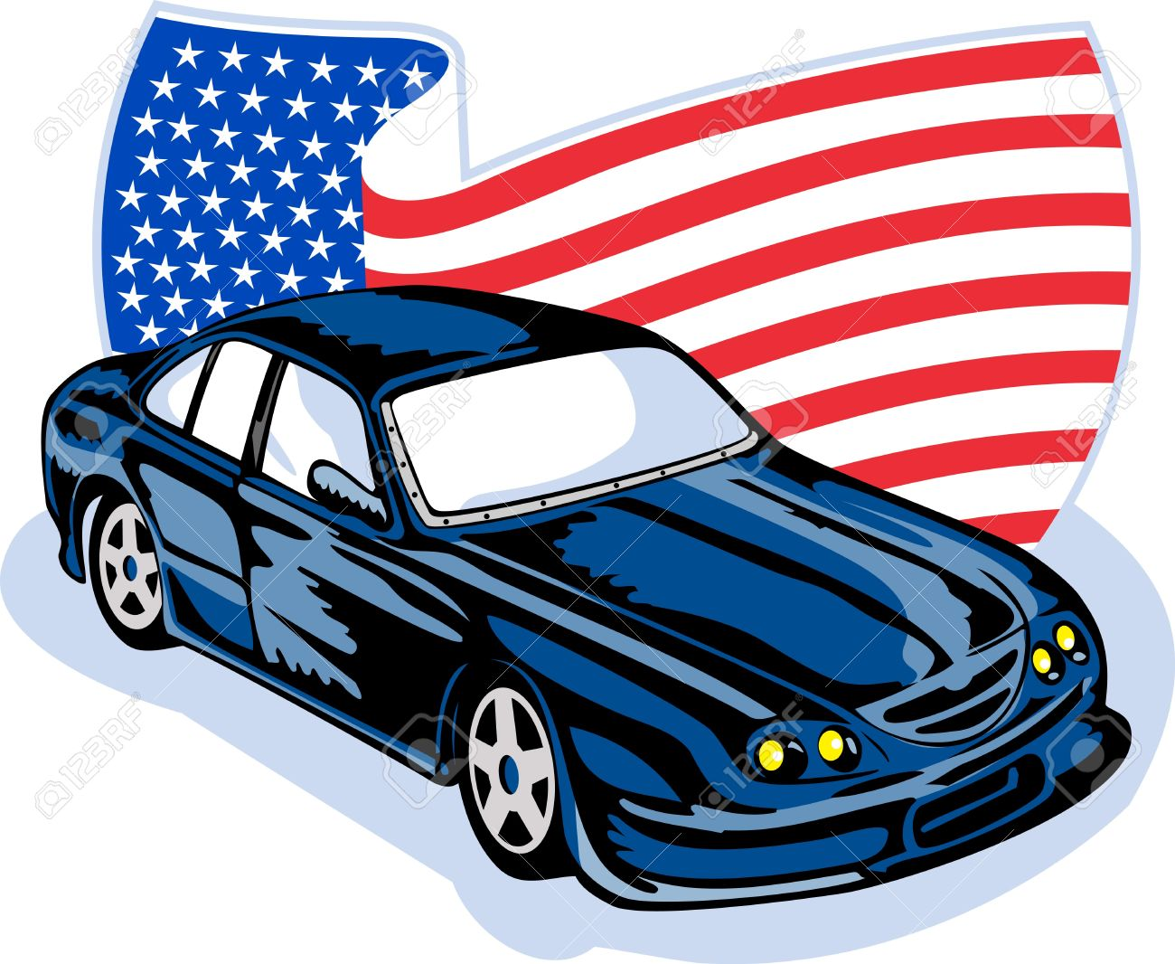 Graphic Design Illustration Of An American Ford GT Muscle Car With Stars And Stripes Flag Isolated