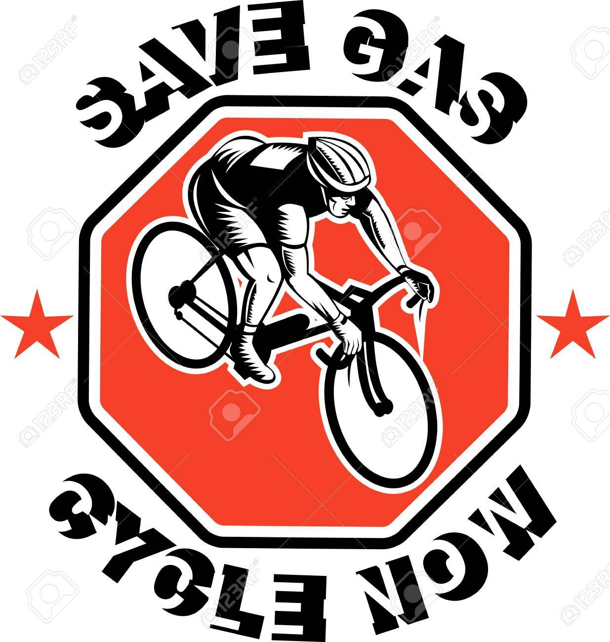 illustration of a Cyclist racing bike set inside octagon viewed from high angle done in retro woodcut style with text saves gas cycle now Stock Illustration - 7715572