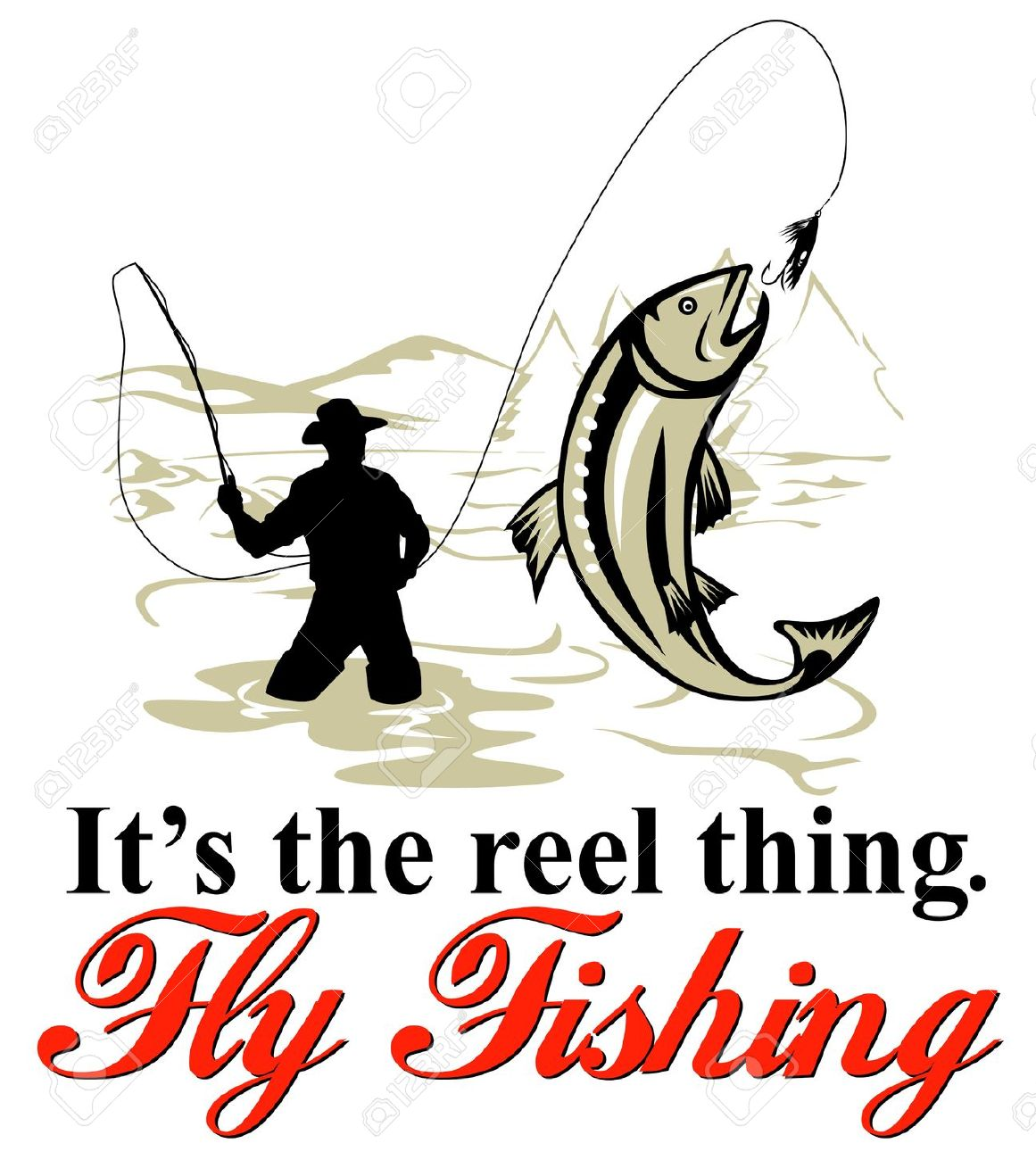 graphic design illustration of Fly fisherman catching trout with fly reel with text wording