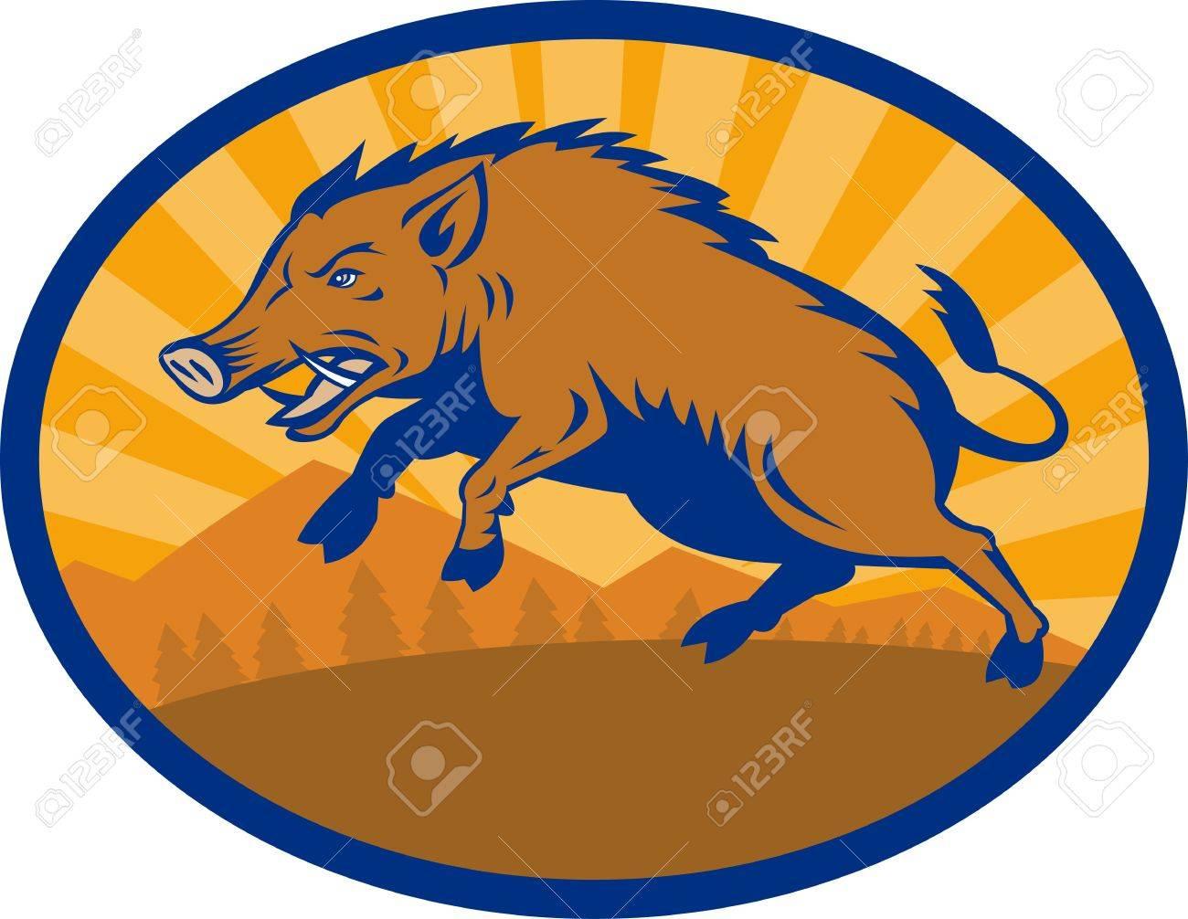 illustration of a Wild Boar Pig Razorback Hog attacking with landscape in background Stock Illustration - 7715534
