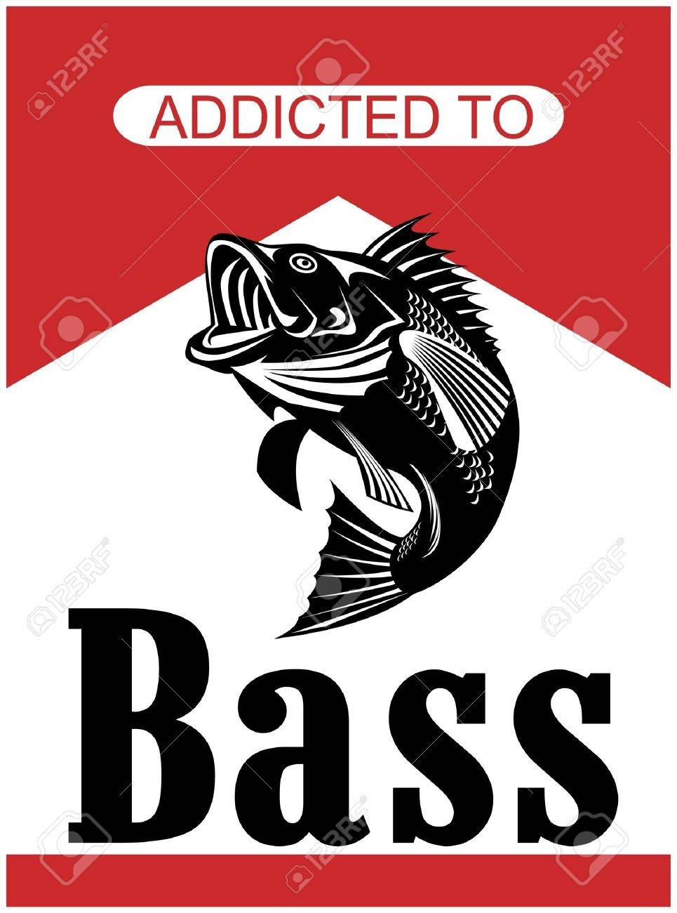 illustration of a largemouth bass jumping with words