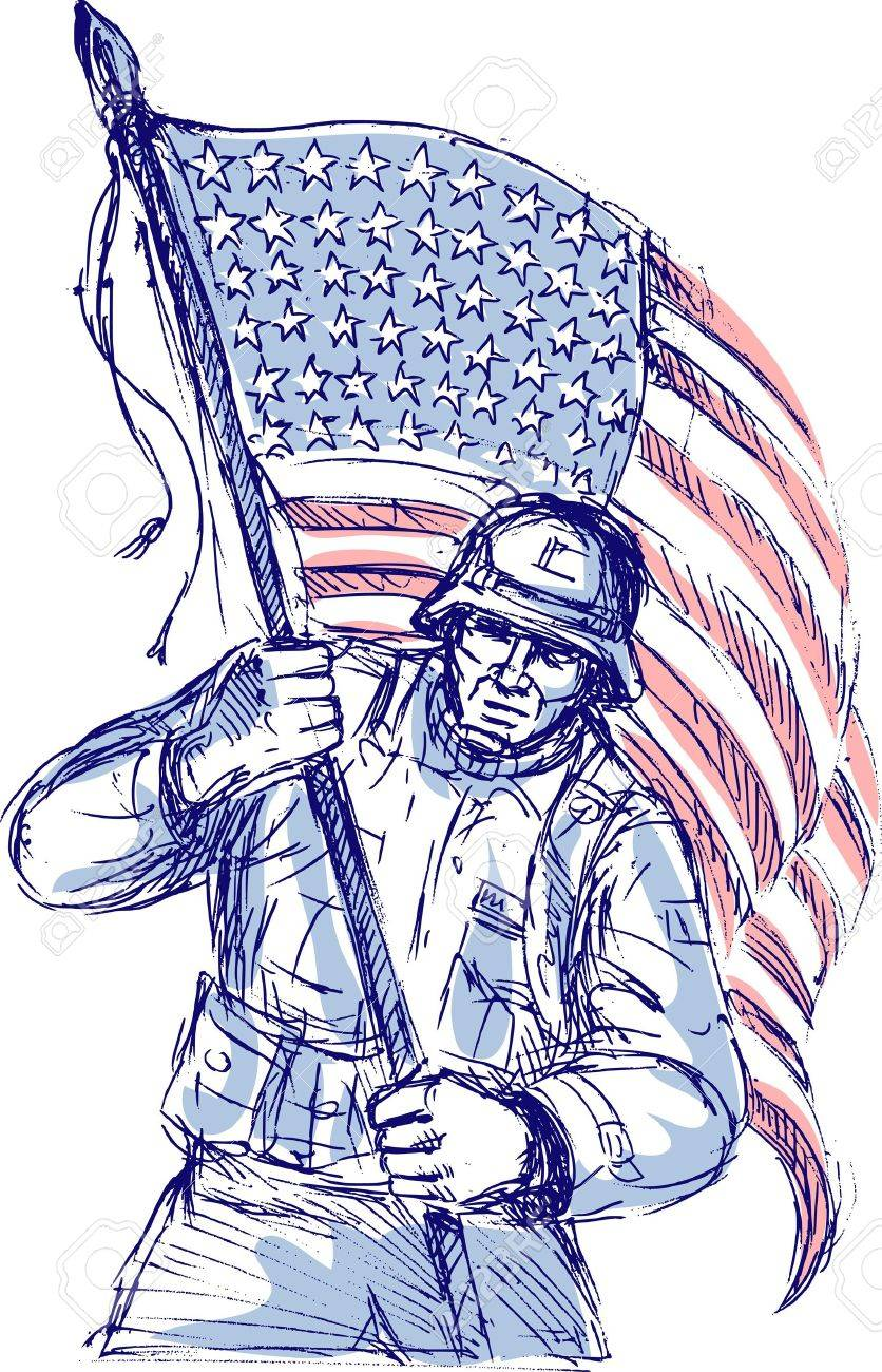 Hand Drawn Sketch Of An American Soldier In Full Battle Gear Stock